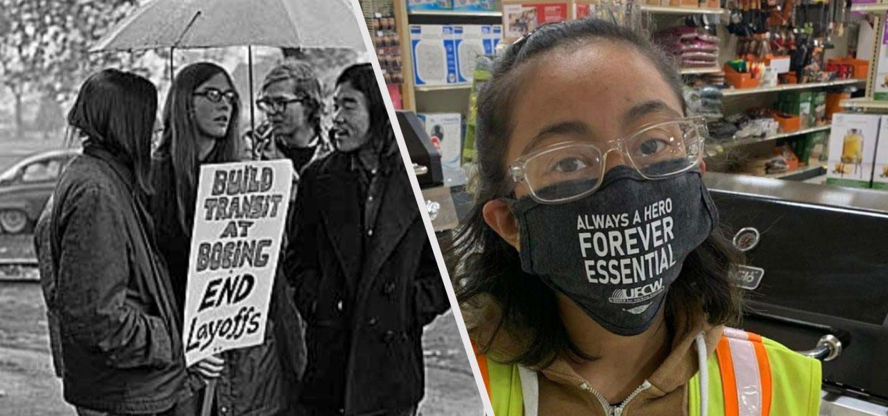 A group of women with a protest sign and another woman wearing a mask for the COVID-19 pandemic.