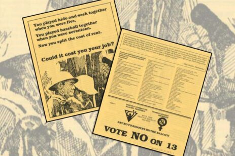 Graphic of old yellow flyers about initiative 13 from the 1970s.