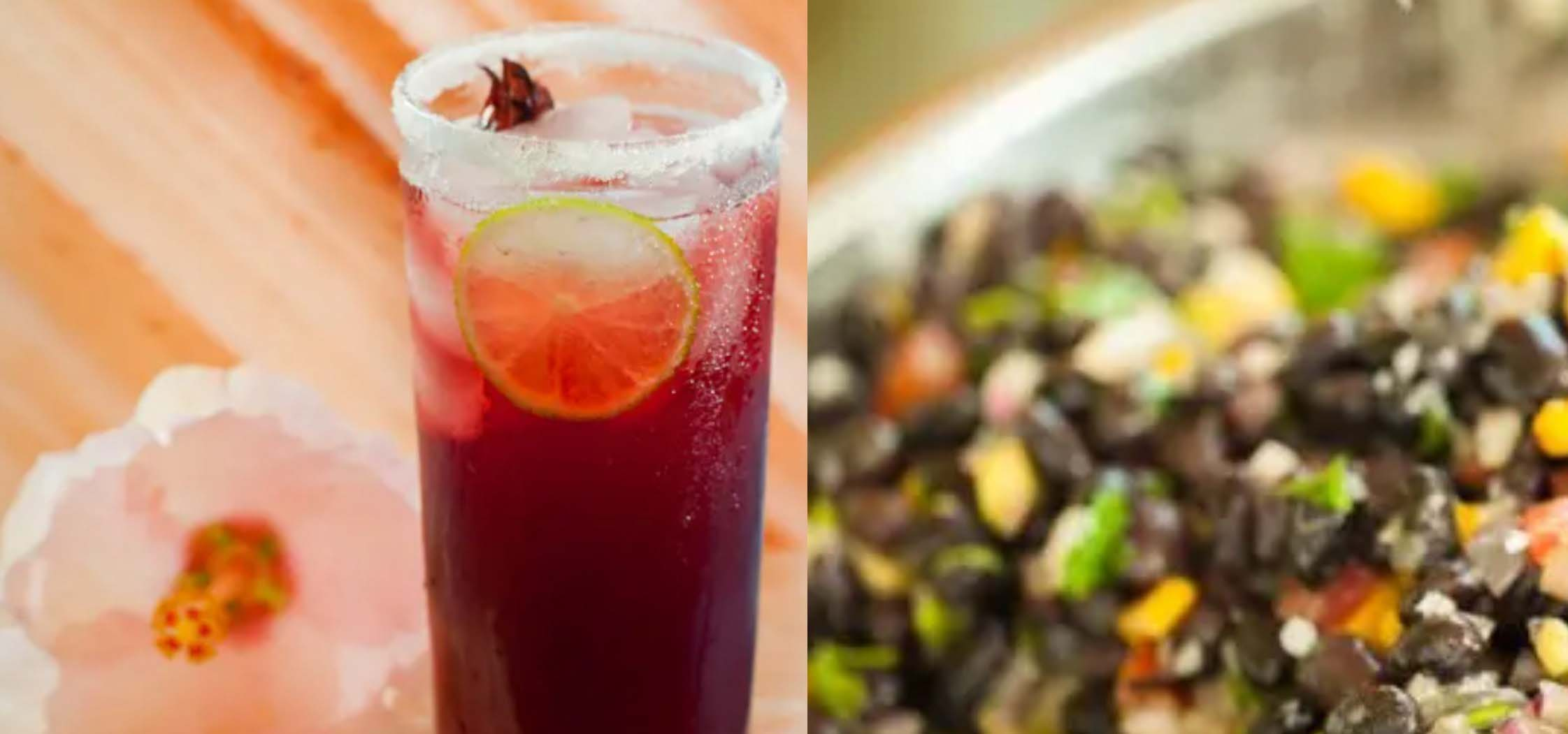 Red cocktail and a side of black bean salad.