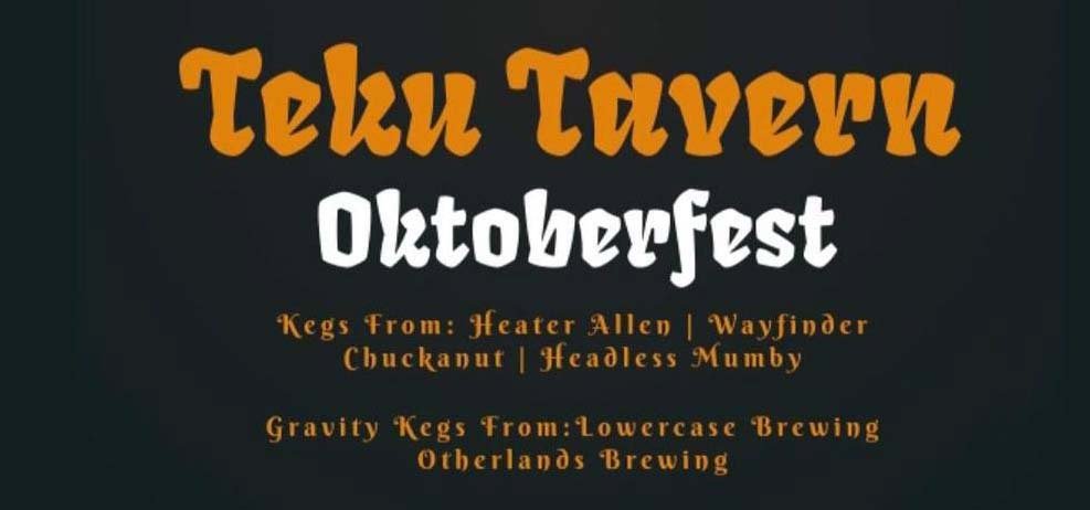 Black graphic with orange and white lettering providing details for an Oktoberfest event.