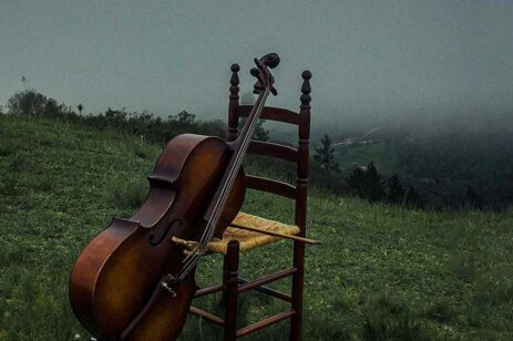 Foggy meadow with a chair and cello arranged for dramatic effect.