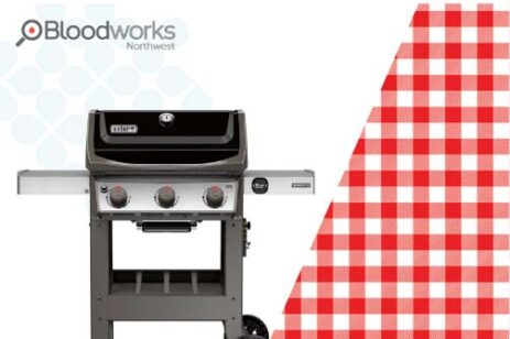 Blood donation graphic with a BBQ grill as a give-a-way for donating.