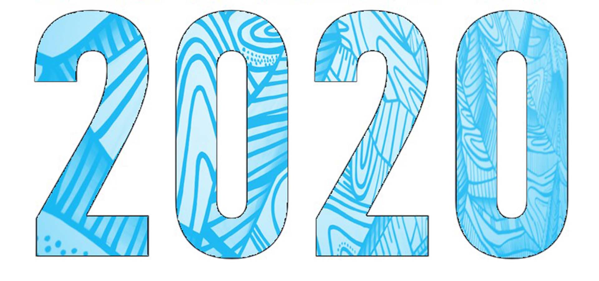 Numbers 2020 in a blue graphic design.