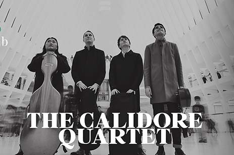Black and white photo of the string quartet, the Calidor.
