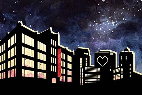 Graphic of starry sky with city buildings