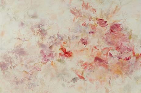 Abstract art with colors of cream, red, pink and orange.