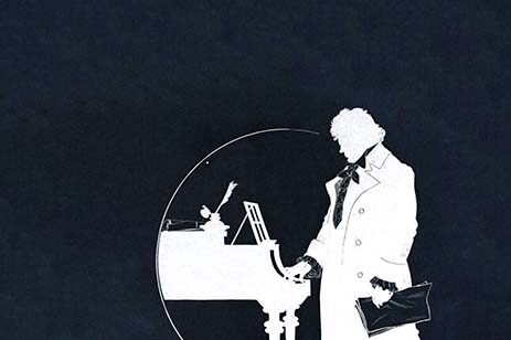 Black & white graphic of Beethoven standing at a piano