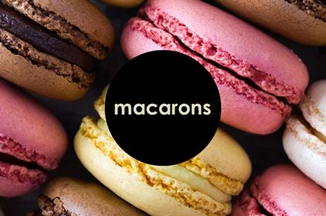 Pink, yellow, and chocolate macarons in rows.