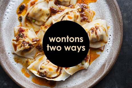 Wontons with a savory sauce on a white plate.