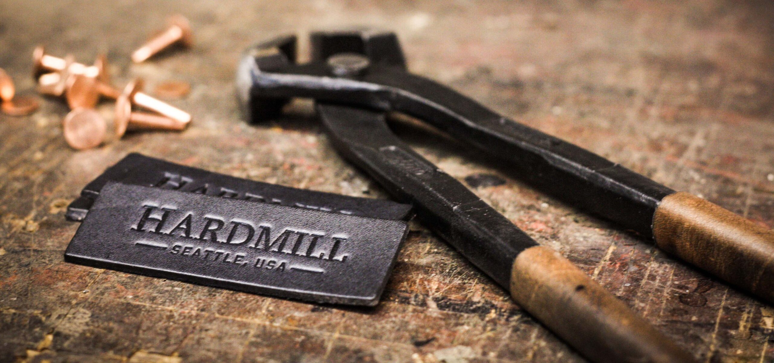 Leather working tools and leather labels for Hardmill retail store.