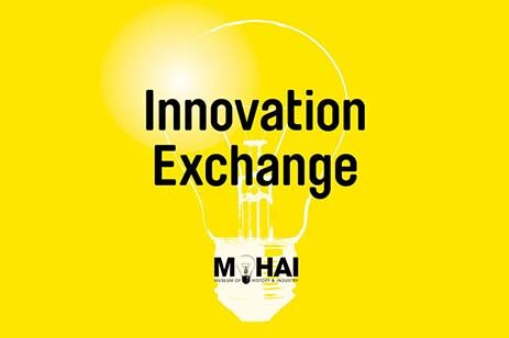 Yellow background with a light bulb logo