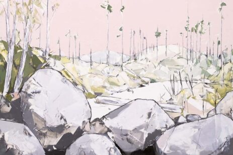 Painting of landscape featuring pastels of boulders, barren trees and sky.