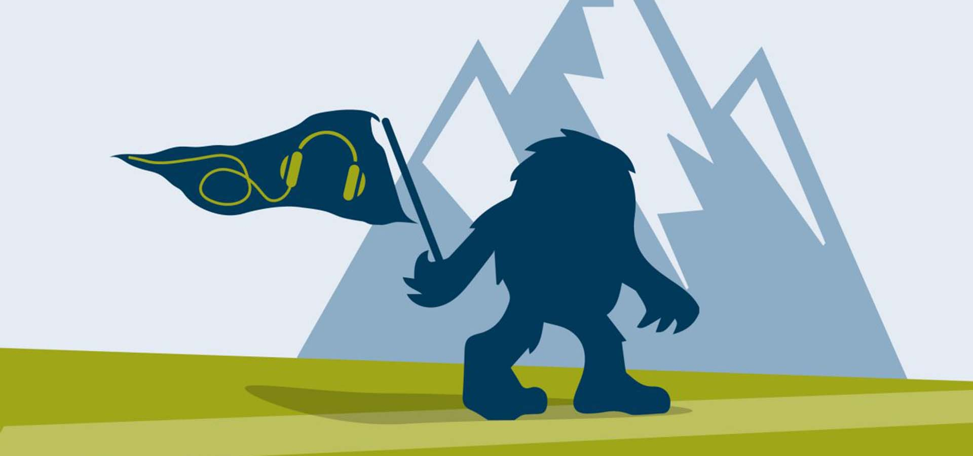 Cartoon of mountains, forest creature holding a podcast flag