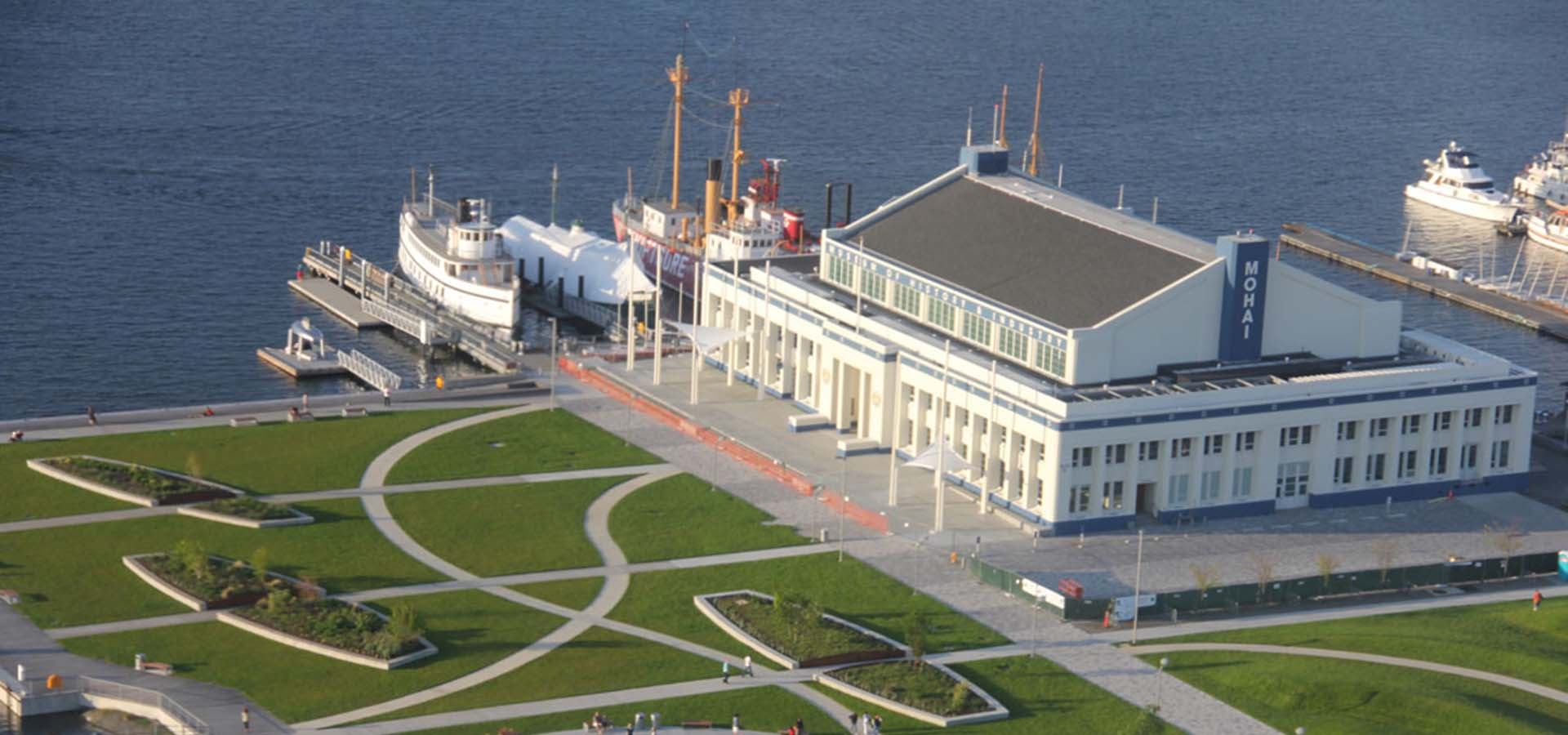 Bird's eye view of MOHAI and the park grounds at South Lake Union.