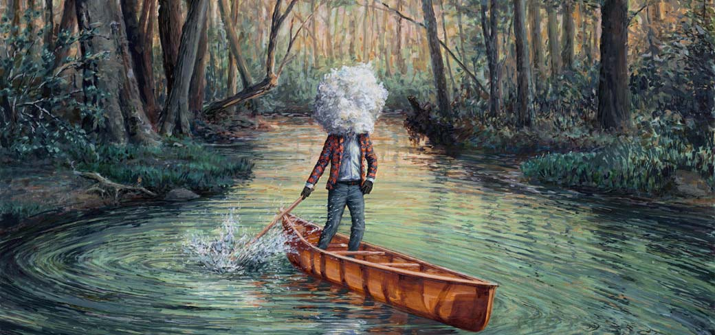 Abstract painting of a man figure canoeing but his head is a cloud.