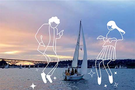 Sunset view of South Lake Union with sailboats; also overlapped with drawing images of people dancing on the water