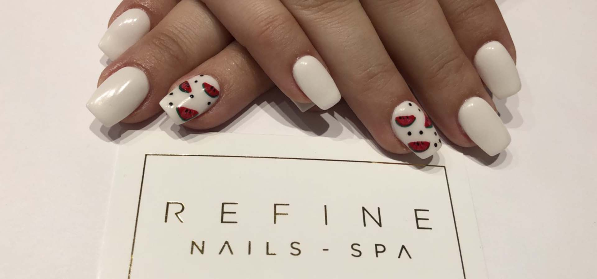 Image of nail art and Refine logo