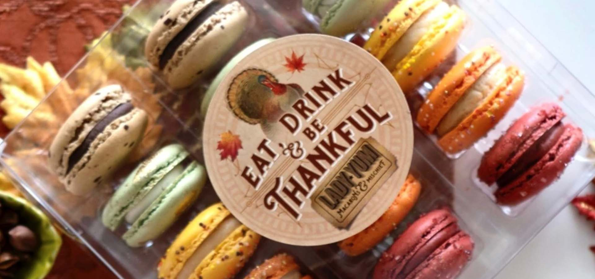 Package of macaroons for Thanksgiving.