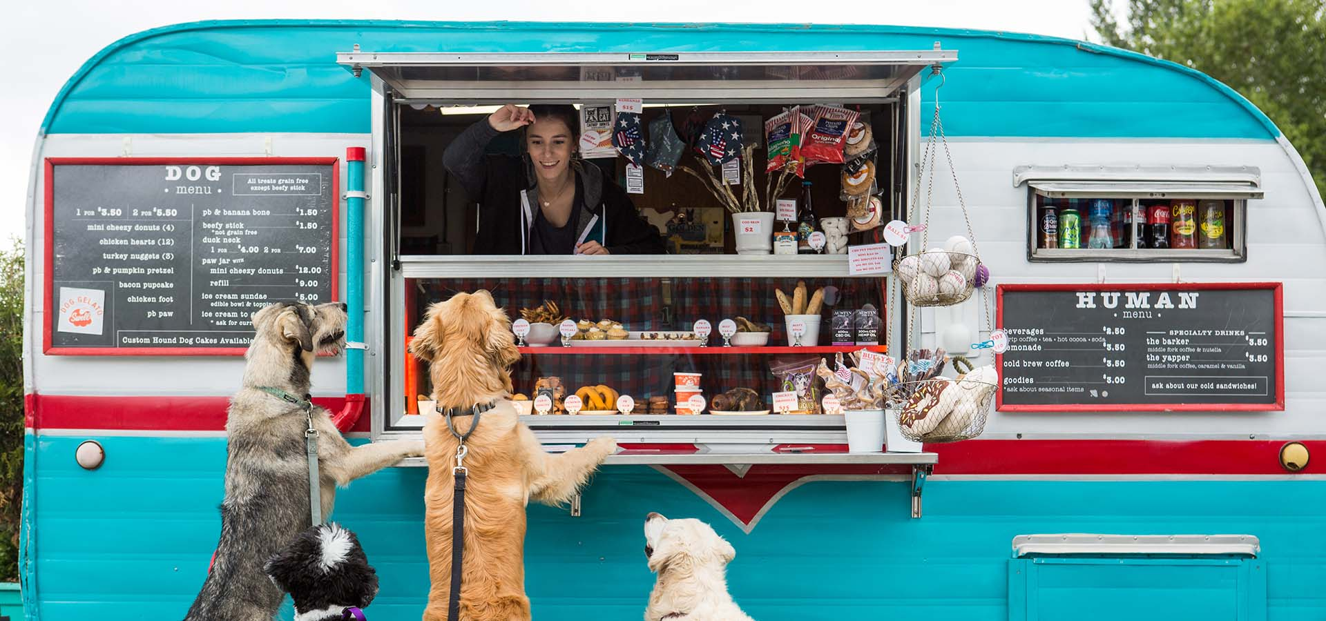 Food trailer for serving treats for dogs