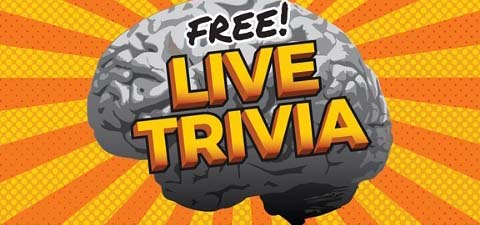 Graphic with a brain behind words reading, 'Free Live Trivia.'