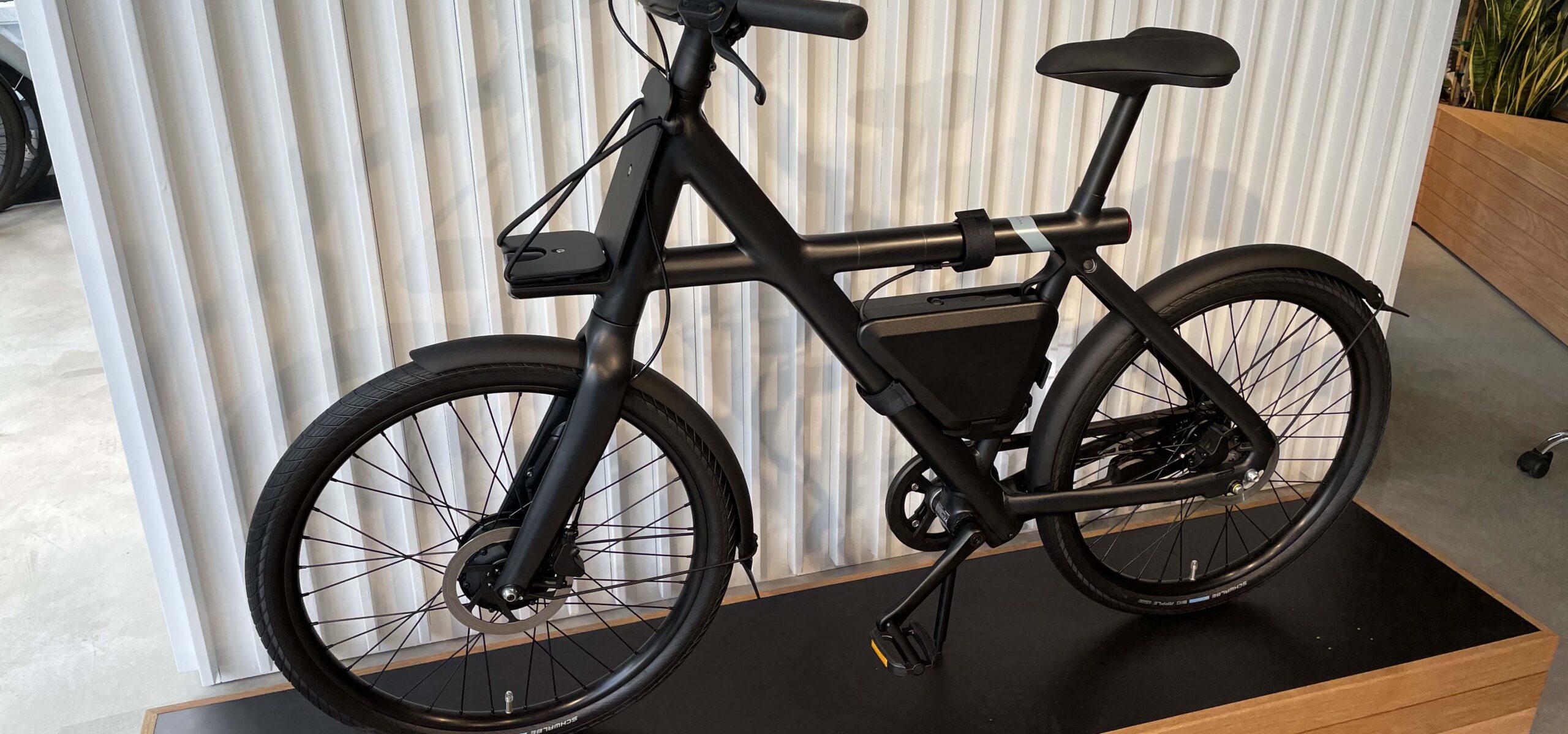 In store display of a black electric bike.