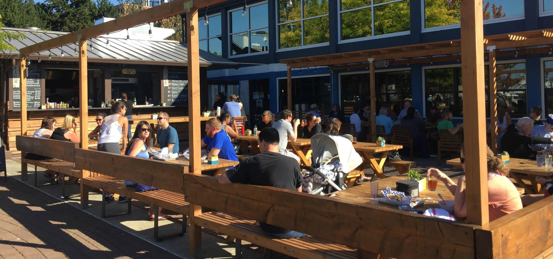 people eating outdoors at The White Swan Public House