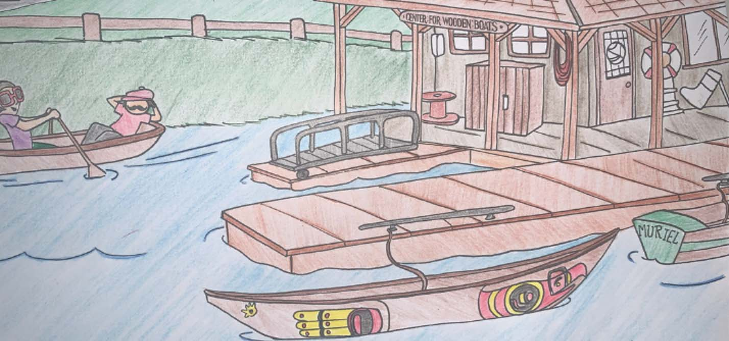 Color pencil drawing of the Center for Wooden Boats.