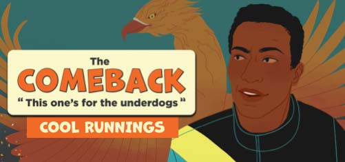 """Cartoon graphic of the movie, 'Cool Runnings."""""""