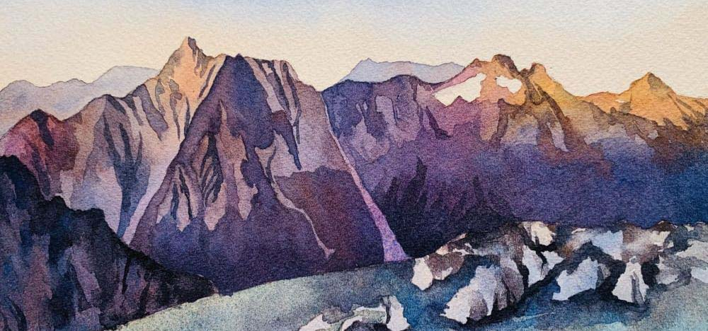 Watercolor of a mountain scape in purple hues.