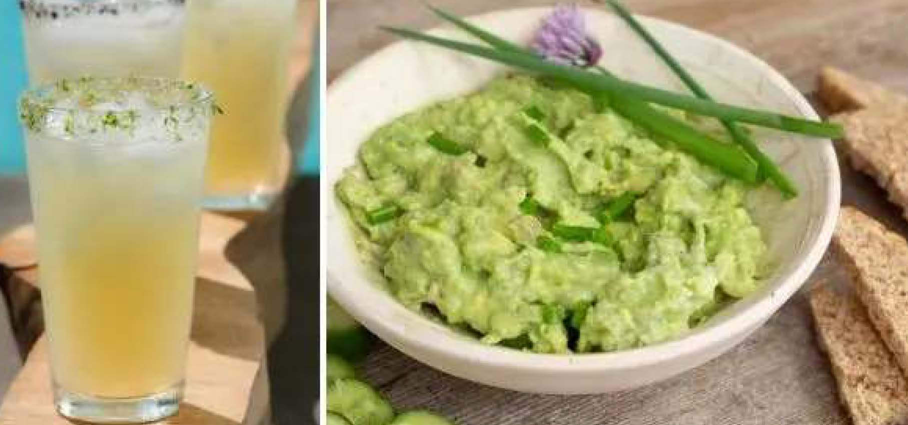 Lime margaritas with a side of guacamole.