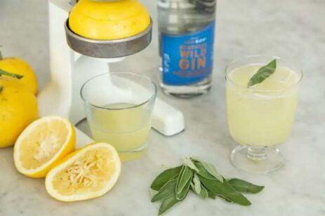 Juice press pressing lemons for a sage rush drink made with gin.