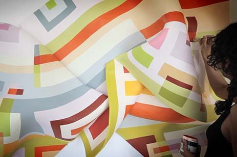 Geometric pattern with bright colors created by artist Marela Zacarías