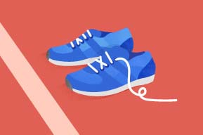 Color graphic of blue running shoes on a red track.
