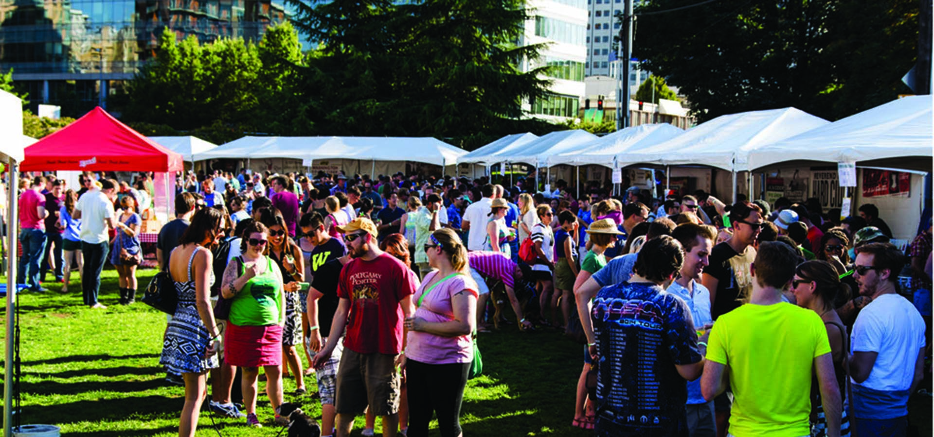 Outdoor cider festival with crowds drinking and tasting ciders.